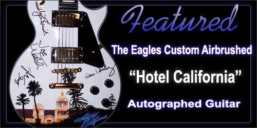 eagles signed hotel california airbrushed guitar